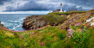 Panorama of lighthouse and ruin of monastery, Pointe de Saint Ma Royalty Free Stock Photo