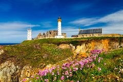 Panorama of lighthouse and ruin of monastery, Pointe de Saint Ma. Thieu, Brittany (Bretagne), France Stock Photo