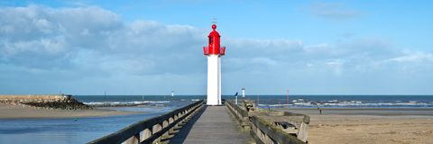 Panorama of the lighthouse of Trouville, Normandy France. Panorama of the lighthouse of Trouville, Normandy, France Stock Image