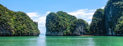 Panorama of limestone island in Phang Nga Bay National Park in Thailand royalty free stock photos