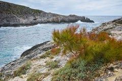 Panorama of Limnionas beach bay at Zakynthos island Royalty Free Stock Image