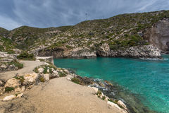 Panorama of Limnionas beach bay at Zakynthos island Stock Photos