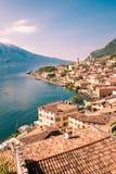 Panorama Limone sul Garda, jeziorny Garda, Włochy Zdjęcia Stock