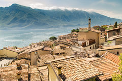 Panorama of Limone sul Garda, lake Garda, Italy. Stock Image