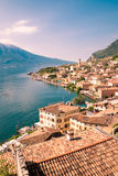 Panorama of Limone sul Garda, lake Garda, Italy. Stock Photos
