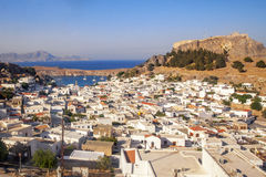 Panorama of Lindos and the Acropolis. Rhodes, Greece. Panorama of Lindos and the Acropolis. Rhodes Island. Greece royalty free stock images