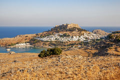 Panorama of Lindos and the Acropolis. Rhodes, Greece. Panorama of Lindos and the Acropolis. Rhodes Island. Greece royalty free stock photos