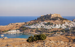 Panorama of Lindos and the Acropolis. Rhodes, Greece Royalty Free Stock Photography