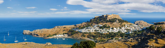Panorama of the Lindos acropolis in Rhodes Stock Photo
