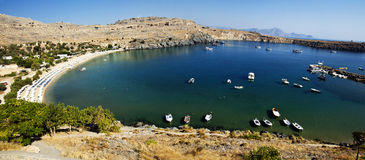 Panorama of Lindos bay Royalty Free Stock Images