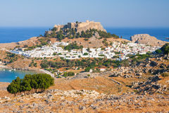Panorama of Lindos. Lindos, castle above on the Greek Island of Rhodes royalty free stock image