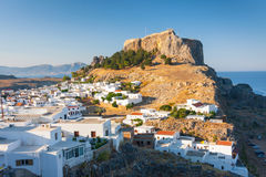 Panorama of Lindos. Lindos, castle above on the Greek Island of Rhodes royalty free stock photo