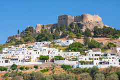 Panorama of Lindos. Lindos, castle above on the Greek Island of Rhodes stock images