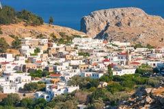 Panorama of Lindos. Rhodes, Greece royalty free stock photo