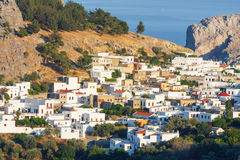 Panorama of Lindos. Royalty Free Stock Images