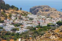 Panorama of Lindos. Rhodes, Greece royalty free stock photos