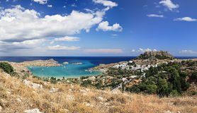 Panorama of Lindos, Rhodes Island - Greece Stock Photo