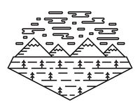 Panorama Line Art Design. Mountains, Spruces, And Clouds. Nature Landscape In Bold Line Style stock illustration