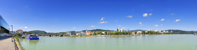 Panorama of Linz with Danube. Panorama of Linz with the river Danube in Austria with free space Stock Photo