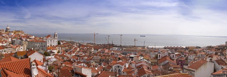 Panorama of lisbon. Panoramic view of lisbon, portugal rooftops across the city Royalty Free Stock Image