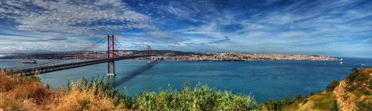 Panorama Lisbon - 25 april bridge Royalty Free Stock Photos