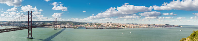 Panorama Lisbon Bridge Stock Images