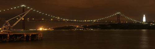 Panorama of the Lisbon Bridge at Night Stock Image