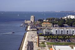 Panorama of Lisbon Portugal Belem tower lighthouse Tagus river yacht fortress Royalty Free Stock Photography