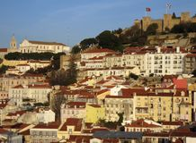 Panorama of Lisbon, Portugal. Panorama with Jorge Castle Stock Image