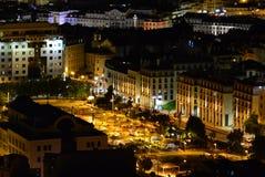 Panorama Lisbon przy noc? fotografia stock