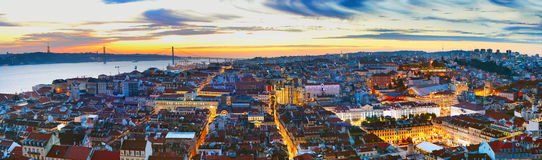 Panorama of Lisbon at twilight Stock Photo