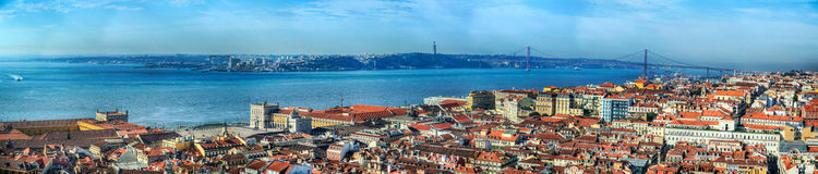Panorama Lisbona ed il Tago Fotografia Stock Libera da Diritti