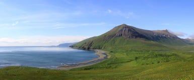 Panorama of the  Lisinski bay Bering Island summer Stock Photo