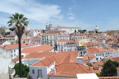 Panorama- Lissabon sikt från helgonet George Castle Royaltyfria Foton