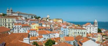 Panorama in Lissabon vom ` Miradouro Porta tun Solenoid-` portugal Stockbild