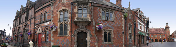 Panorama of the Literary Institute in the Picturesque Town of Sandbach in South Cheshire England Stock Image