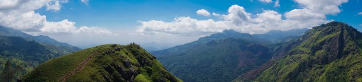 Panorama of Little Adam`s Peak Mountain in Sri Lanka Stock Photo