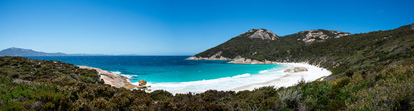 Panorama of Little Beach landscape in Two Peoples Bay Reserve near Albany Royalty Free Stock Photos