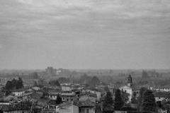 Panorama of a little city. Panoramic view from a hill of a little city in italy stock photos