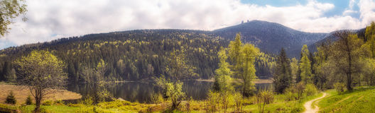 Panorama from little lake arber. Bavaria Stock Photos