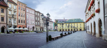 Panorama of little market square Maly Rynek in Krakow, Poland Stock Photos