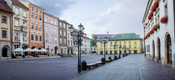 Panorama of little market square Maly Rynek in Krakow, Poland Stock Image