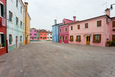 Panorama from a little square in burano Island, Venice (vintage Stock Image