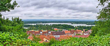 Panorama with little town Stock Photography