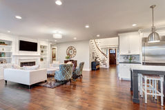Panorama of living Room in New Home Royalty Free Stock Image