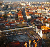 Panorama of Ljubljana city market. In late afternoon with surroundings Stock Images