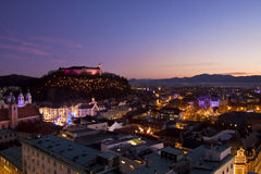 Panorama of Ljubljana at dusk. Royalty Free Stock Photo