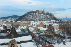 Panorama of Ljubljana in winter. Slovenia, Europe. Royalty Free Stock Photography