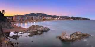 Panorama of Lloret de Mar Seafront in the Evening, Lloret de Mar Stock Photo
