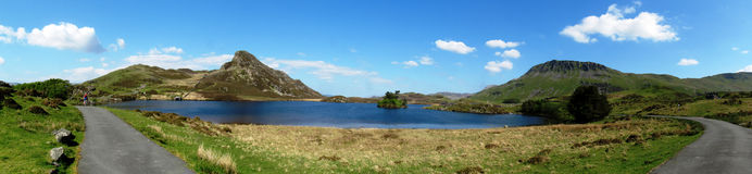 Panorama of Llynnau Gregennen, in Snowdonia National Park Stock Photos